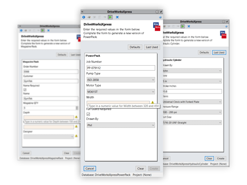 solidworks DriveWorksXpress input forms